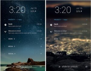 Echo Notification Lockscreen provides you with messages and missed calls on your lock screen.