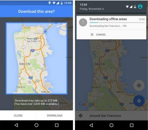 This screenshot from the smartphone provided by Google shows a map of the Bay area of San Francisco during a demonstration of the new navigation option offline Google Maps. With an update for Android phones Tuesday, November 10, 2015, users will be able to search nearby businesses and get driving directions, including voice turn-by-turn, even if the Internet connection is uneven or nonexistent. Google said a version for iPhone is coming soon.