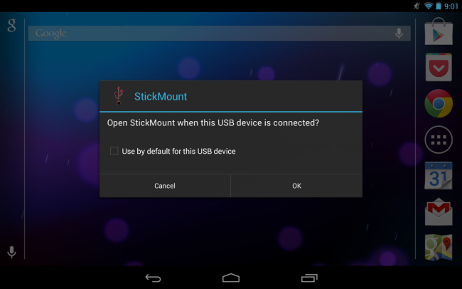 Tap OK and StickMount will make the files on the USB device accessible.