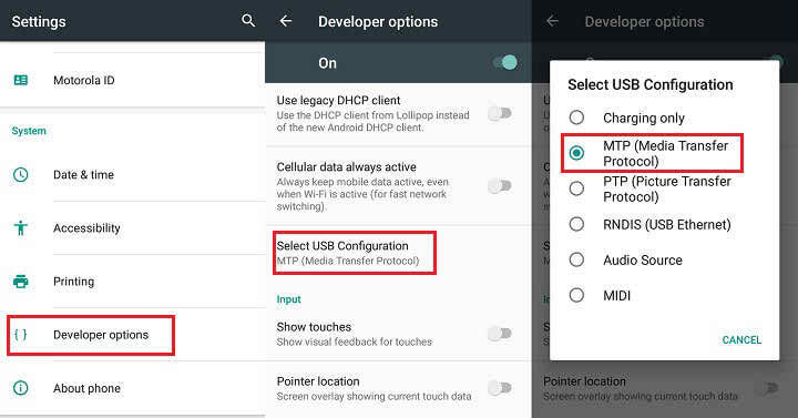 Set Default USB Connection Type In Android Marshmallow