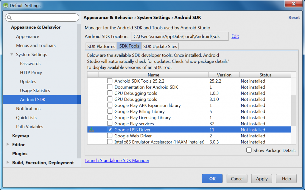 Google USB Driver install via SDK Manager