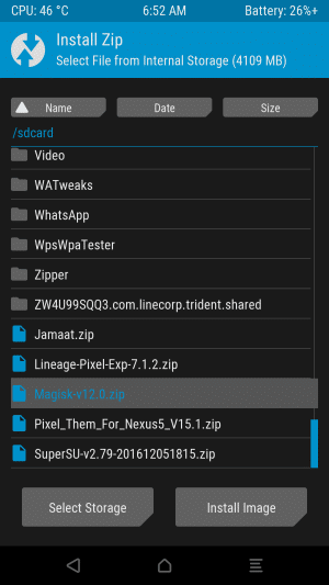 Select Magisk-v15.zip file on TWRP